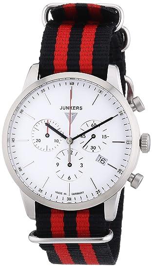 Junkers Watches 6C86-1 - Reloj de pulsera hombre, tela, color multicolor