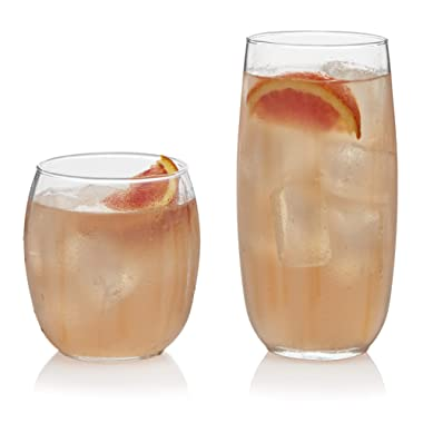 Libbey 55561 Samba 16-Piece Drinkware Glass Set, 18.5 oz, Clear