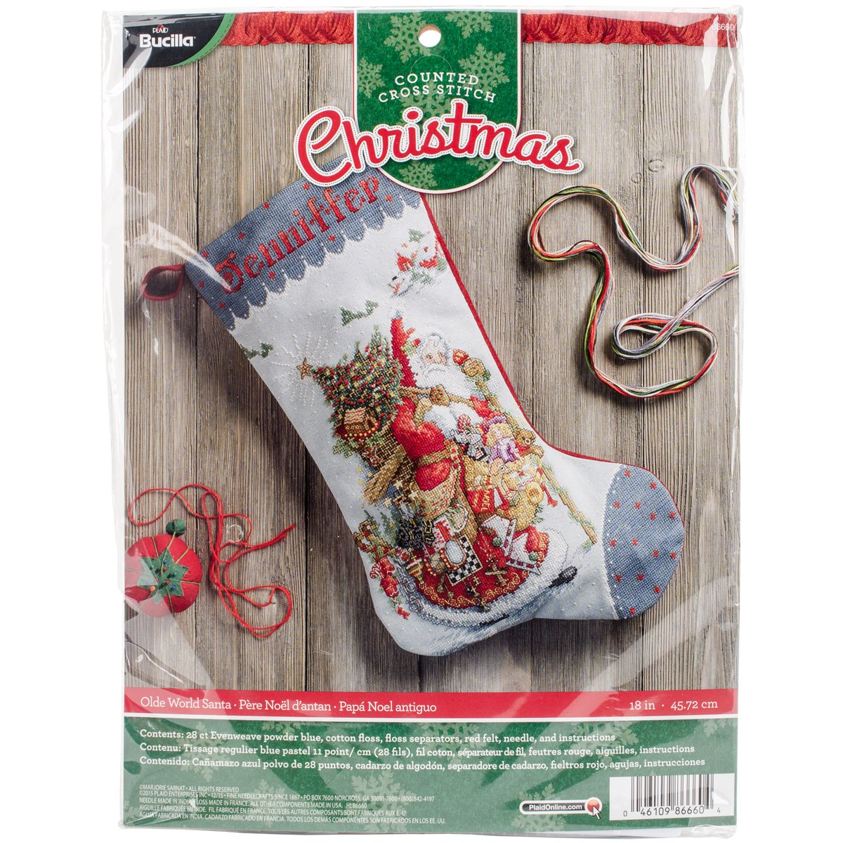 Amazon.com: Bucilla 18-Inch Christmas Stocking Counted Cross Stitch ...