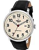 Yema - YEAU 009-FA - Montre Homme - Automatique Analogique - Cadran Beige - Bracelet Cuir Noir