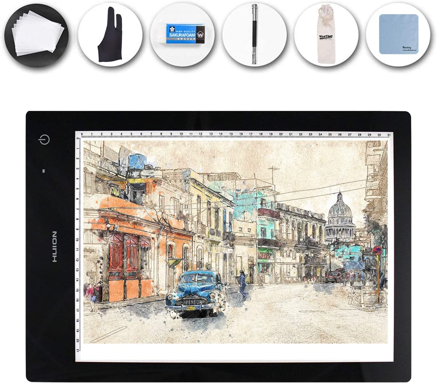 Huion 17.7 Inches (Diagonal Length) Extra Thin LED Animation Drawing Tracing Stencil Board Table Panel Built-In Battery Tattoo Pad Light Box LB4 with Kenting Cleaning Cloth