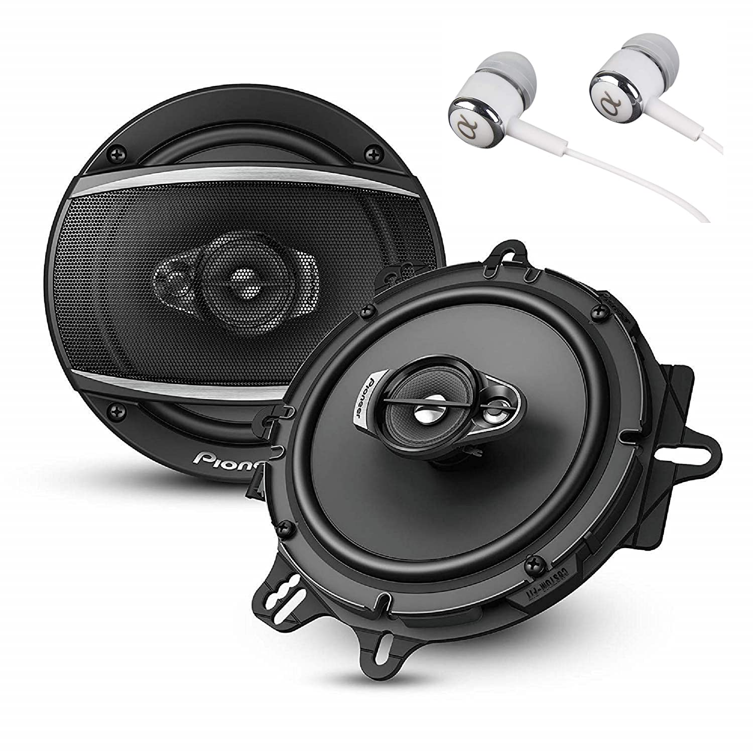 """b026ba88356 Pioneer A Series 6.5"""" 320 Watts Max 3-Way Car Speakers Pair with Fiber Cone  Midrange and 6-1/2"""" Multi-Fit Installation Adapters Included w/ FREE  ALPHASONIK ..."""