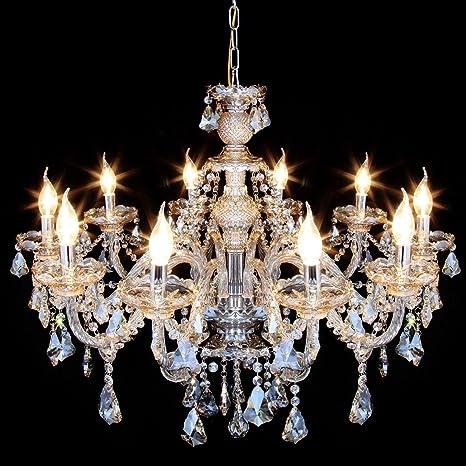 best loved d73d1 04019 Ridgeyard Luxurious 10 Lights K9 Crystal Chandelier Candle Cognac Pendant  Lamp Living Room Ceiling Lighting for Dining Bedroom Hallway Entry (10 ...