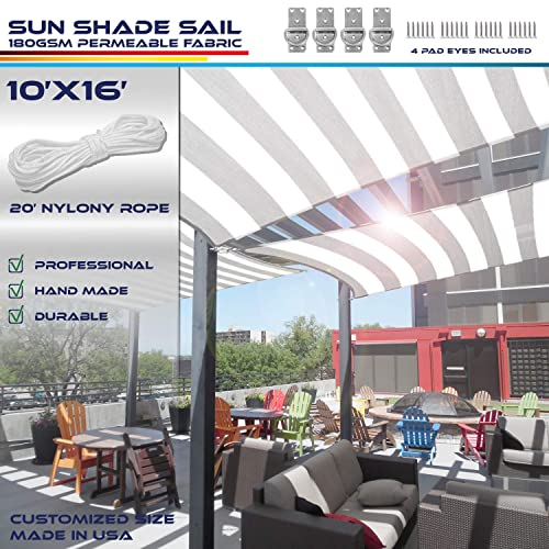 Windscreen4less 10 x 16 Rectangle Sun Shade Sail – Wide Grey Stripes Wide White Stripes Durable UV Shelter Canopy for Patio Outdoor Backyard with Free 4 Pad Eyes – Custom Size
