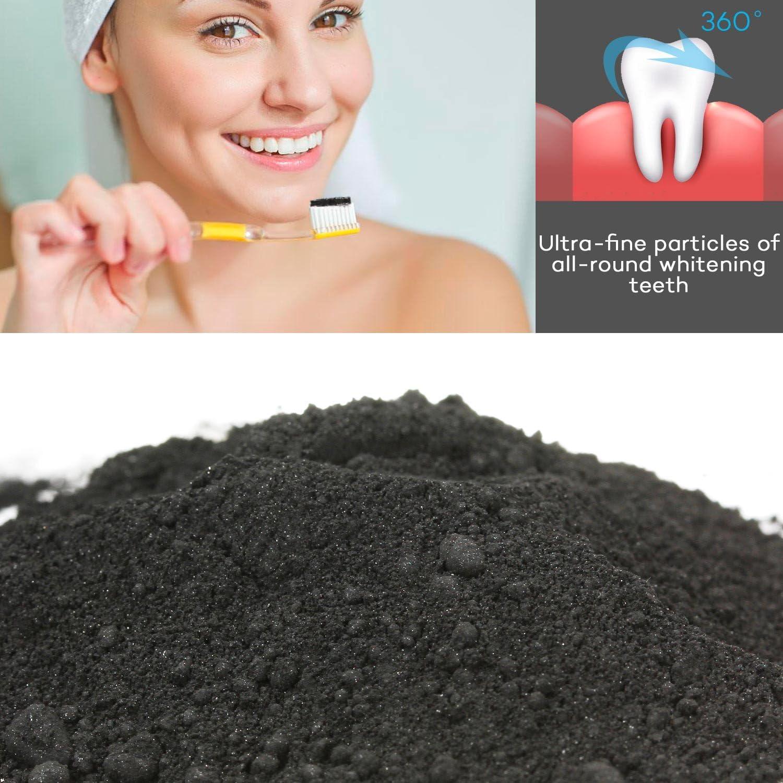 Pupow Polvo de Dientes,Blanqueador Dental de Carbón Activado ...