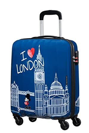 American Tourister Disney Legends - Spinner Small Alfatwist Equipaje de Mano, 55 cm, 36 Liters, Azul (Mickey London): Amazon.es: Equipaje