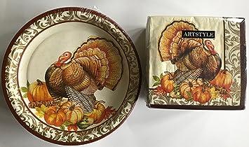 Sturdy Thanksgiving Paper Plates and Thanksgiving Napkins Set Beautiful Turkey Theme & Amazon.com: Sturdy Thanksgiving Paper Plates and Thanksgiving ...