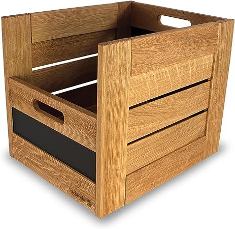 Caja con tabla de pizarra, caja de madera 30 abierta en roble: Amazon.es: Hogar