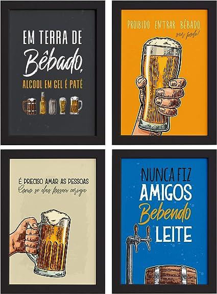 Quadros Com Frases Cerveja Moldura Preta 33x43cm Kit 4un