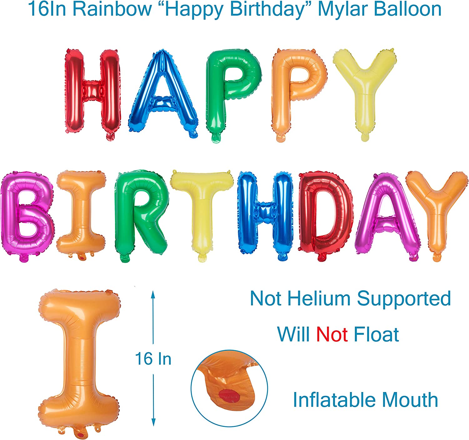 16 Inch Happy Birthday Mylar Balloon Letter Banner Foil Macaron 1 Aluminum Party Supplies Decorations