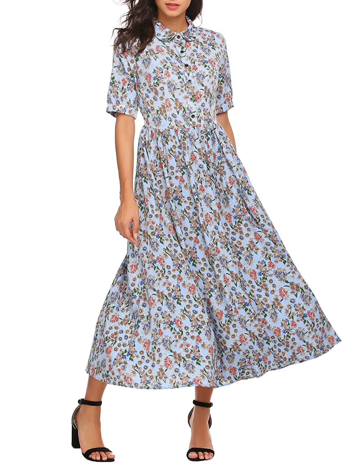 1930s Costumes- Bride of Frankenstein, Betty Boop, Olive Oyl, Bonnie & Clyde ACEVOG Womens Vintage Style Short Sleeve Floral Print Long Maxi Dress $36.19 AT vintagedancer.com