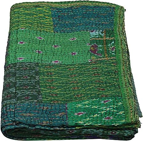 parrot green CROWN kantha quilt Handmade INDIAN Hand-Stitched Patchwork Vintage Kantha Quilt HandStitched Queen Kantha Throw Cotton Blanket