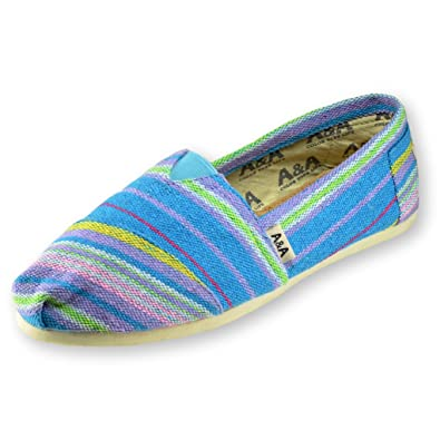 A&A Turquoise Canvas Slip-on Casual Flats Alpargatas for Women (Indie) US5