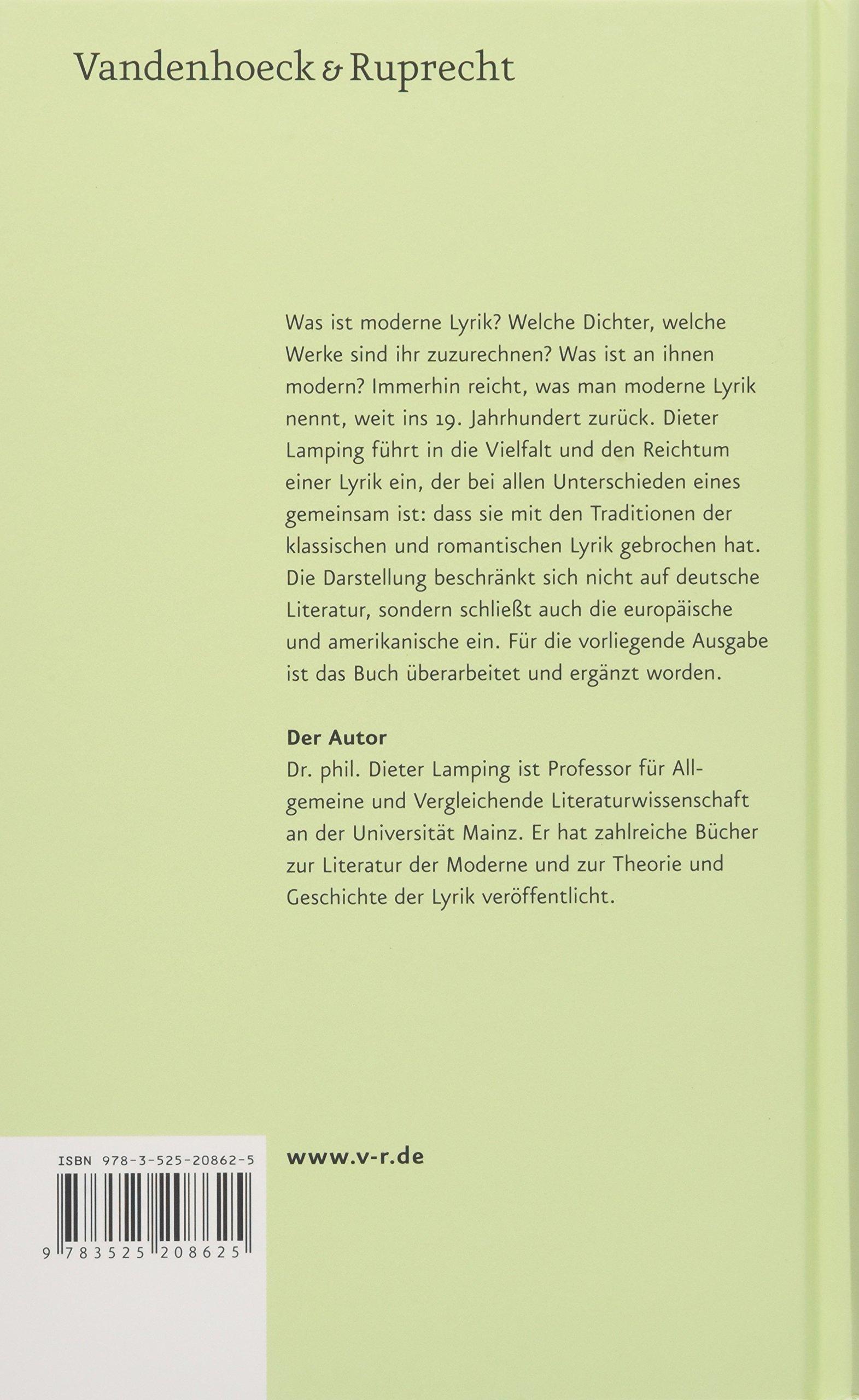 Moderne Lyrik: Amazon.co.uk: Dieter Lamping: 9783525208625: Books