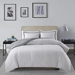 Madison Park Essentials Hayden Ultra Soft Microfiber Reversible Hypoallergenic Duvet Cover Bedding Set, Twin, Grey 2 Piece