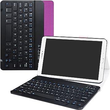 Samsung Galaxy Tab E 9.6 Bluetooth teclado Funda,Mama Mouth DETACHABLE Bluetooth teclado teclado (teclado QWERTY formato inglés) PU Cuero Con Soporte ...