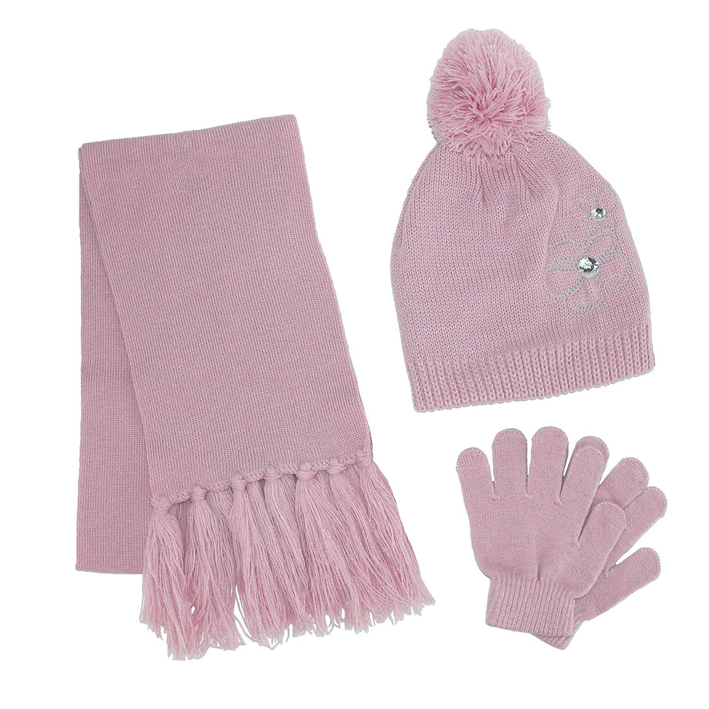 ClimaZer0 Girls Flower Beanie Hat and Scarf Winter Set Dark Pink