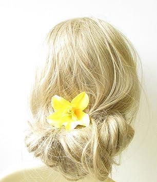 Yellow orchid flower hair clip rockabilly 1950s vintage hawaiian yellow orchid flower hair clip rockabilly 1950s vintage hawaiian floral 40s 1255 exclusively sold by mightylinksfo