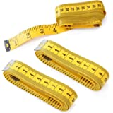 Cren® 3pcs 300cm/120 Inch Yellow Soft Tape Medical Body Measurement Sewing Tailor Ruler, Also Has Centimetre Scale on Reverse Side