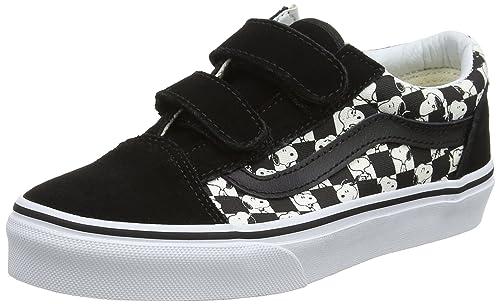 Amazon.com | Vans x Peanuts Old Skool V Snoopy Checkerboard Kids Sneakers (11.5 M US Little Kid) Black | Sneakers