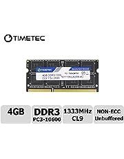 Timetec Hynix IC 4GB DDR3 1333MHz PC3-10600 Non ECC Unbuffered 1.5V CL9 2Rx8 Dual Rank 204 Pin Sodimm Laptop Notebook Computer Memory Ram Module Upgrade (Low Density 4GB)