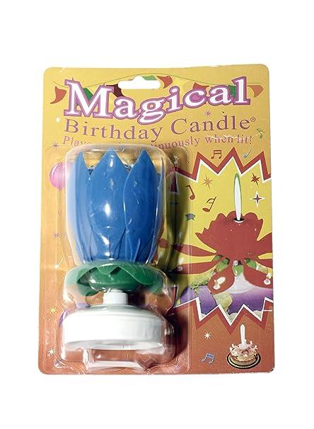 The Amazing Singing Opening Flower Happy Birthday Candle Blue Amazoncouk Kitchen Home