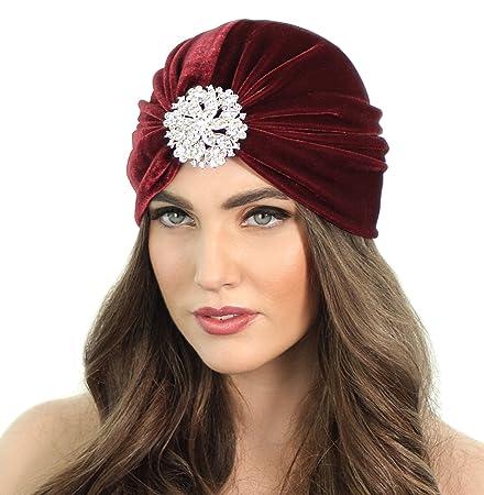 3a35598279941 Amazon.com   Crystal Flapper Velvet Turban (Burgundy)   Beauty