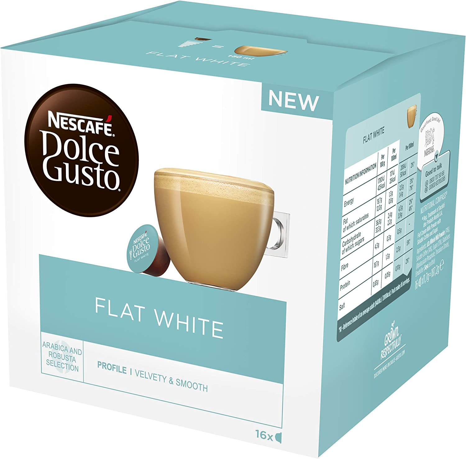 Nescafé Dolce Gusto Flat White Coffee Pods 16 Capsules Pack Of 3 Total 48 Capsules 48 Servings