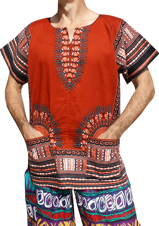Brick Red RaanPahMuang Front Split African Dashiki Traditional Cotton Shirt Two Pockets