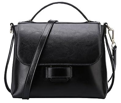 b02935a07a Weidu Women Handbags Purses Leather Genuine Vintage Crossbody Handbags On  Sale Clearance (black)