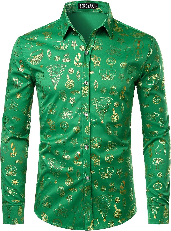 ZEROYAA Mens Hipster Gold Rose Printed Slim Fit Long Sleeve Dress Shirts//Prom Performing Shirts