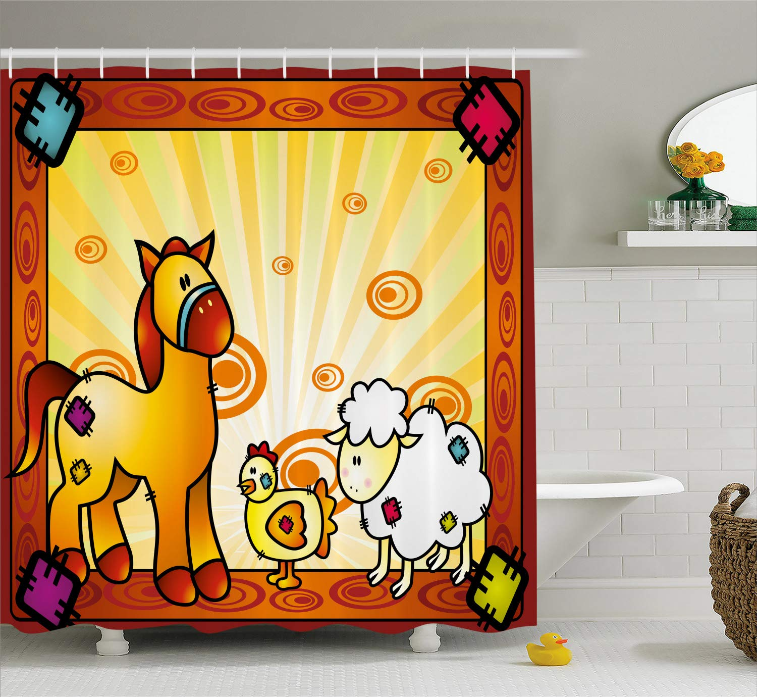Ambesonne Farm Shower Curtain Animal Friend Chicken Sheep And Horse With Patch Motif Zoo Joyful Cartoon Print Cloth Fabric Bathroom Decor Set Hooks