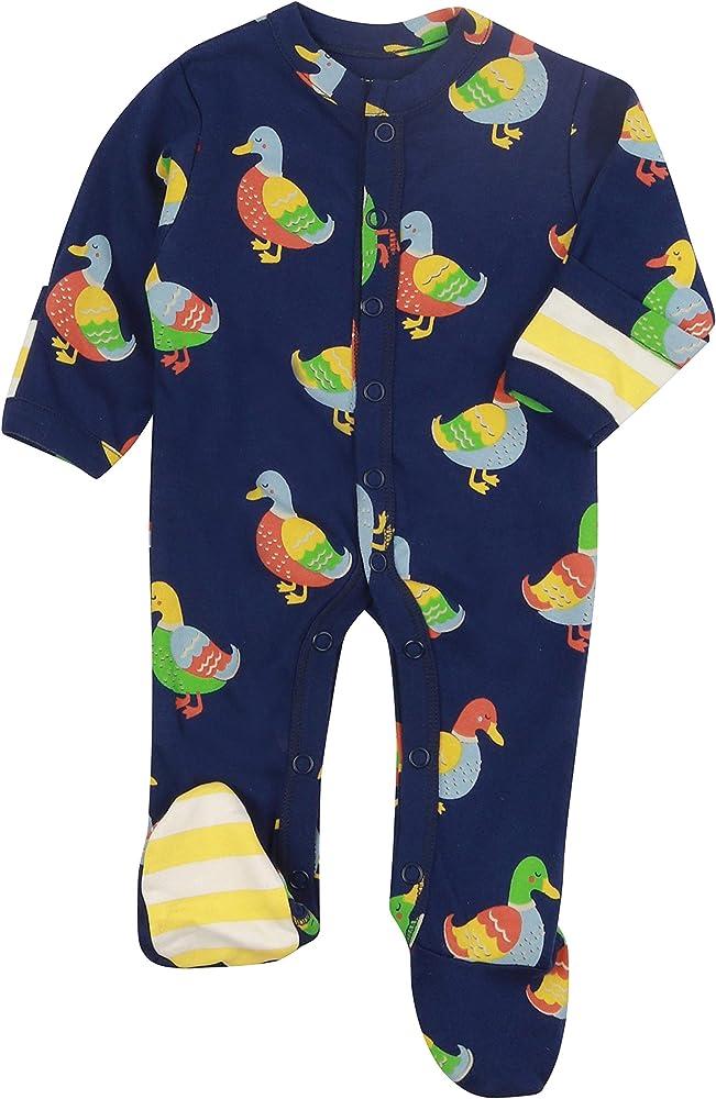 Piccalilly - Pijama de bebé con pies, jersey suave, algodón orgánico sin químicos, estampado de pato azul para bebé niña + niño Azul azul 2 mes: Amazon.es: Ropa y accesorios