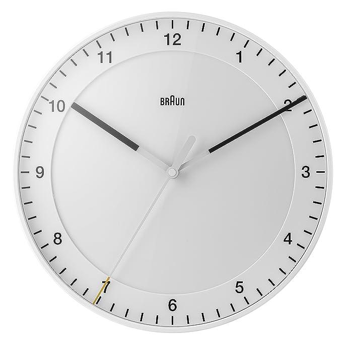 Reloj de pared analógico blanco Braun, minimalista