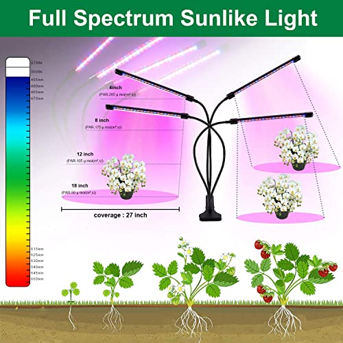 WowTowel 80 LED Grow Light for Indoor Plants, 40W Full Spectrum 4 Head 9 Dimmable Levels Plant Grow Lights Red Blue Spectrum, 3 9 12H Timer, 360 Degree Adjustable Gooseneck