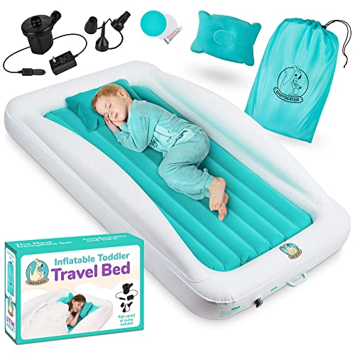 Toddler Air Mattress with Sides Includes Air Pump, Pillow, Travel Bag, and Repair Kit