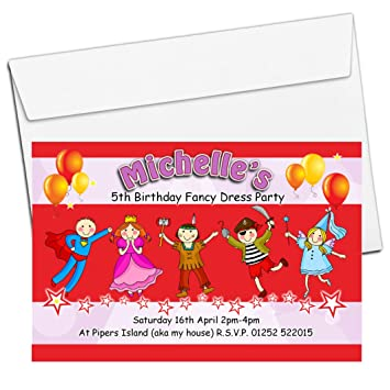 10 personalised girls boys fancy dress birthday party invitations