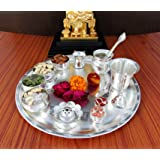 GoldGiftIdeas 12 Inch Sarovar Silver Plated Pooja Thali Set, Occasional Gift, Pooja Thali Decorative, Wedding Gift