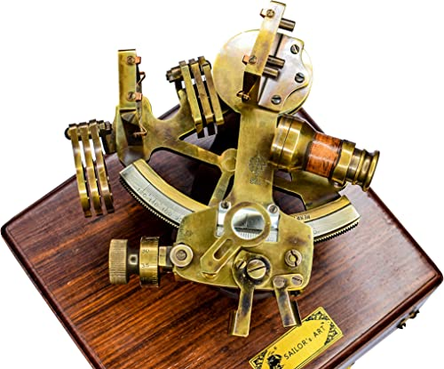 Sailor s Art Antique Brass Nautical Sextant with Wooden Box-Instrument for Navigation-Henry Barrow CO Nautical 6 Inch Sextant Sextant for Mariners, Surveyors-Nautical Gifts-Sexton