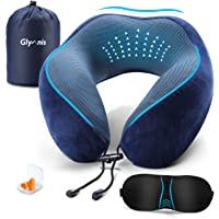 Glymnis Travel Pillow Neck Support Pillow Memory Foam Pillow with Eye Mask and Noise Blocking Ear Plugs Accessories