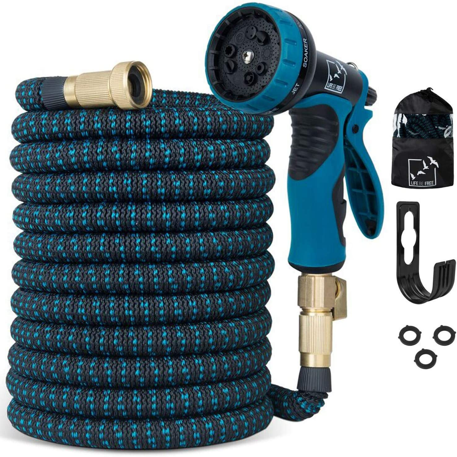 100 Ft Expandable Garden Hose, Upgraded Extra Strength No-Kink, Lightweight Durable Flexible Expanding Water Hose Pipe, 9 Function Spray Nozzle, 3/4 Solid Brass Connectors, Holder, Storage Bag 81sFTHsjeKL