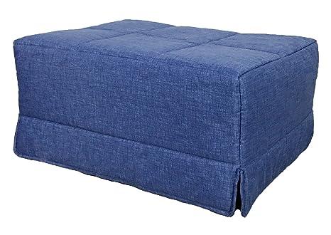 Cama plegable convertible en sillon pouf pensada para ahorrar espacio, color azul, puf,