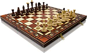 Large Hand Crafted Wooden Senator Chess Professional Set