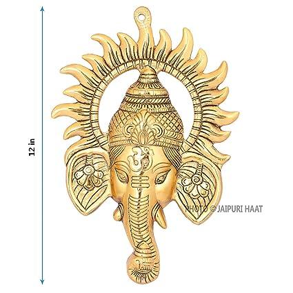 Jaipuri Haat Main Door Right Turn Trunk Ganesha� Decorative Gift Item-Gold Plated
