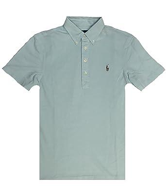 74b8d3d86fc56 Polo Ralph Lauren Mens Knit Oxford Polo Shirt (Aqua