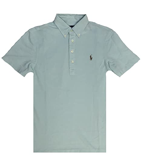 Polo Ralph Lauren Mens Knit Oxford Polo Shirt (Aqua, Small) at ... ff919a238cda