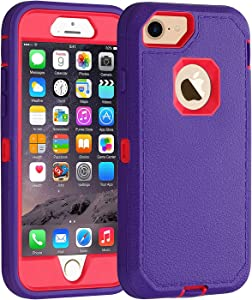 Co-Goldguard Case for iPhone 6/6s,[Heavy Duty] [Litchi Pattern Series] 3 in 1 Durable Cover with with Screen Bumper Shockproof Drop-Proof Shell Case for Apple iPhone 6/6s 4.7 inch (Light Purple&Pink)