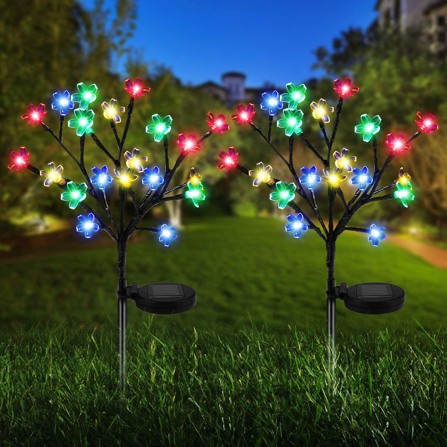 Solar Lights Outdoor - New Upgraded Solar Garden Lights, 2 Pack Waterproof Colored Fairy Landscape Tree Solar Lights for Pathway Patio Yard Deck Walkway Christmas Decoration(20 LED)