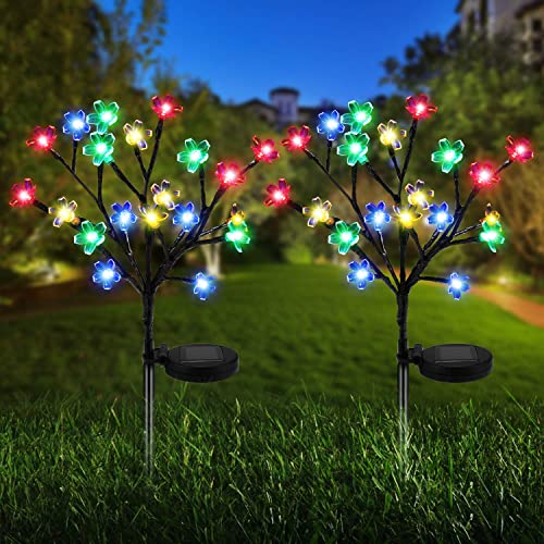 Solar Lights Outdoor – New Upgraded Solar Garden Lights, 2 Pack Waterproof Colored Fairy Landscape Tree Solar Lights for Pathway Patio Yard Deck Walkway Christmas Decoration 20 LED