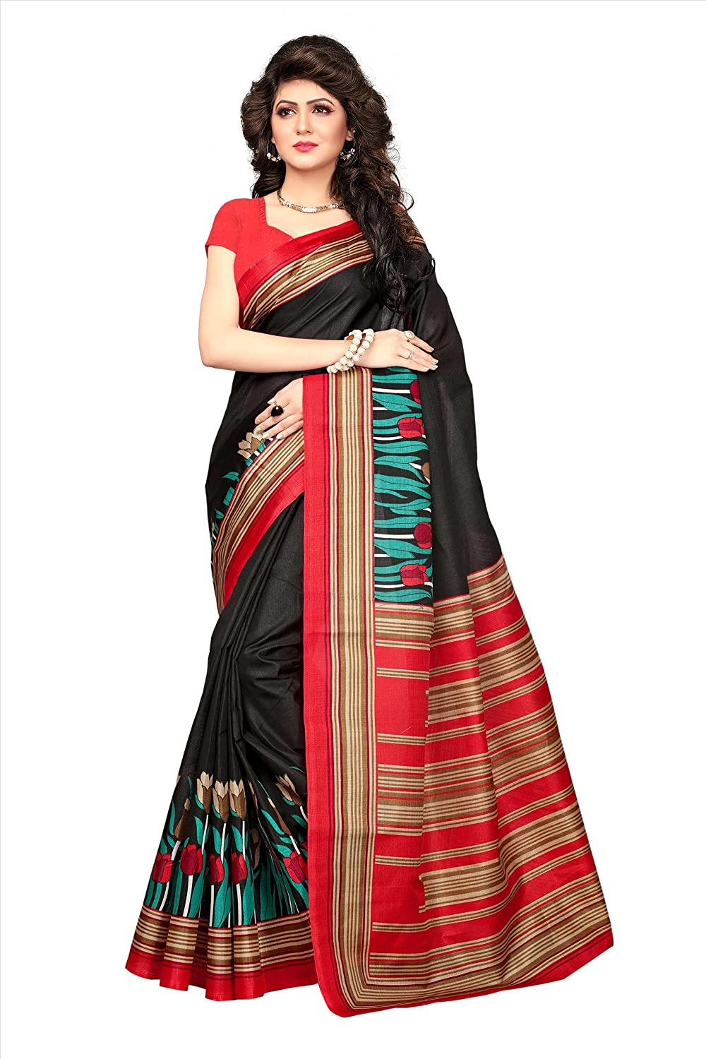 20c1d0e9d4368 Fabwomen Silk Saree with Blouse Piece (Fab1327_Black_Free Size): Amazon.in:  Clothing & Accessories